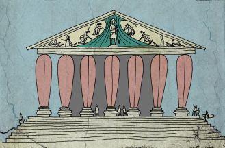 """Los griegos levantaron """"unos pocos"""" templos dedicados a los dioses del surfin. De ahí surgió el orden """"tablónico"""", que no tuvo tanta fama con el dórico, jónico o el corintio. El maestro Fidias esculpió los frontones de algunos de estos templos ahora perdidos."""