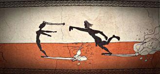 """Los orígenes del Hangten y el Hangfive... Mitología griega. [La diosa griega de la fortuna, Tiqué, era una amante del surf. Estaba calva, excepto una larga trenza. De ahi la expresión """"la ocasión la pintan calva"""". Tiqué era rapidísima, por eso se dice que hay ir detrás de la suerte, y no quedar esperando a que llegue, porque si no nunca la alcanzarías. Esto lo sabían bien los surfistas griegos, que intentaban alcanzarla de cualquier forma, para poder así tener suerte en sus próximas olas]"""