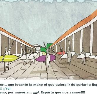 En Grecia nació la democracia. Los churfers se reunían en el ágora donde además de intercambiar sus flipadas sobre el surf y las olas que pillan deciden entre todos a dónde van a buscar sus próxiimas olas.