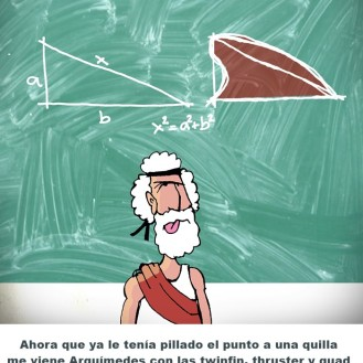 Pitágoras, un famoso científico, colaboraba con Arquímedes, quien le encargó el diseño de las quillas para sus tablas. Se basó en su teorema de triángulos rectángulos rectilíneos afinándolo y adaptándolo a los mixtilíneos para crear unas quillas fantásticas.