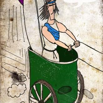"""Las furgonetas actuales tienen su orígen en unos vehículos llamados """"bigas"""" que conducían unos esclavos llamados """"aurigas"""". Cuenta la leyenda que un esclavo de Delfos se escapó en su """"biga"""" y recorrió toda la costa europea surfeando."""